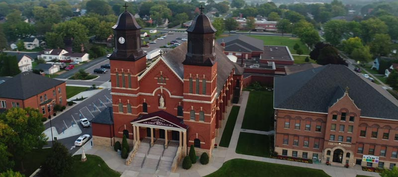 Arial view of St. Wenceslaus Campus in New Prague, MN